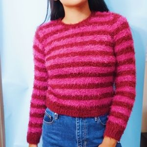 Vintage fluffy striped sweater